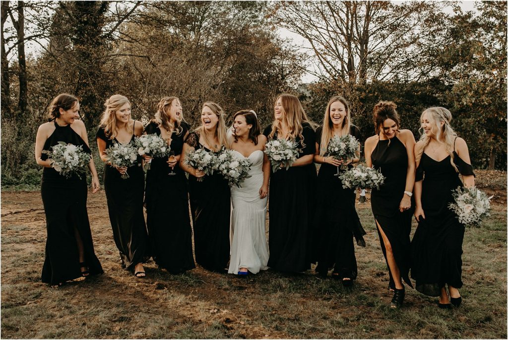 Bride surrounded by her best friends on her wedding day