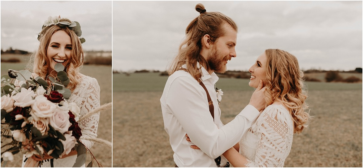 Essex boho wedding couple gazing into each other's eyes in a field