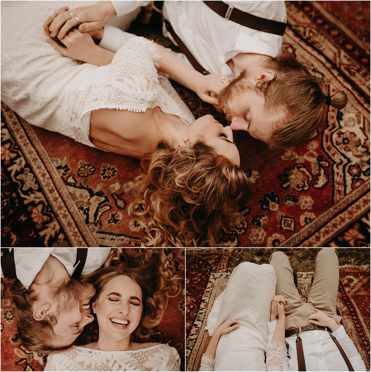Fun portraits of boho bride and groom laying on vintage moroccan rugs